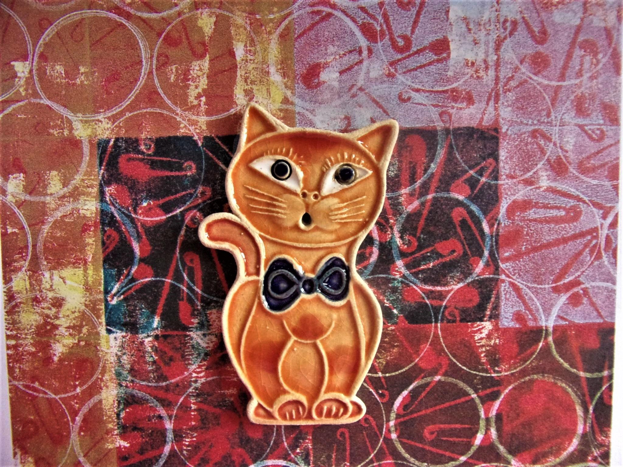 keramická placka s motivem kočky je vhodná jako drobný dárek, velikost je cca 5x7 cm