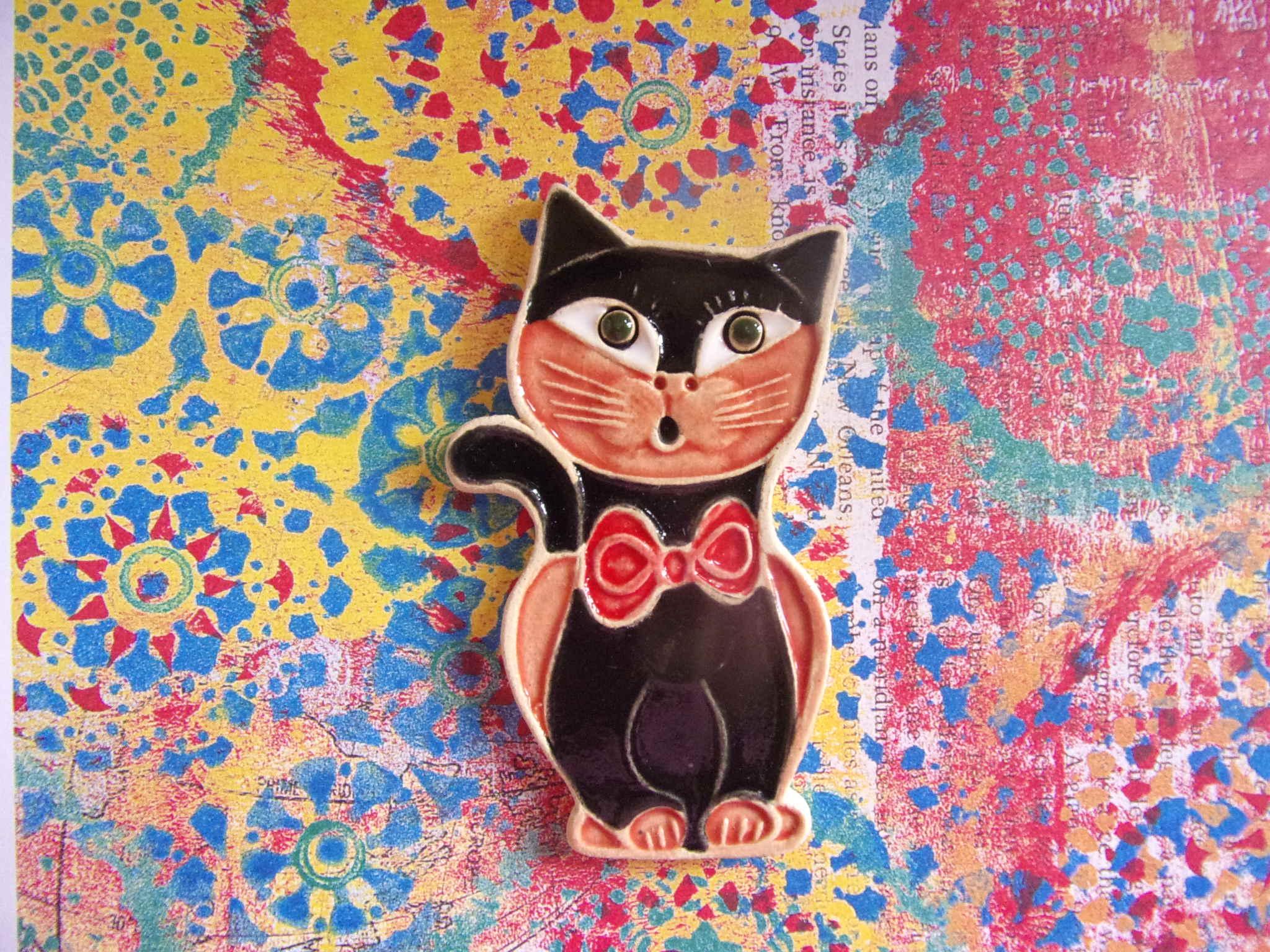 keramický magnet s kočkou