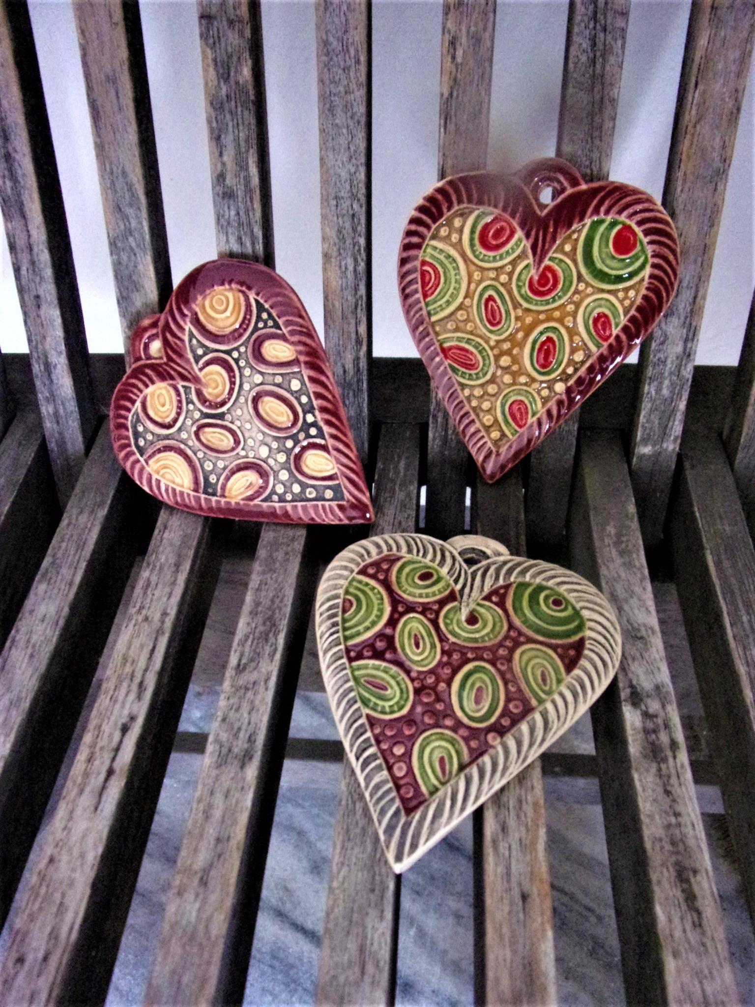 keramické srdce na pověšení